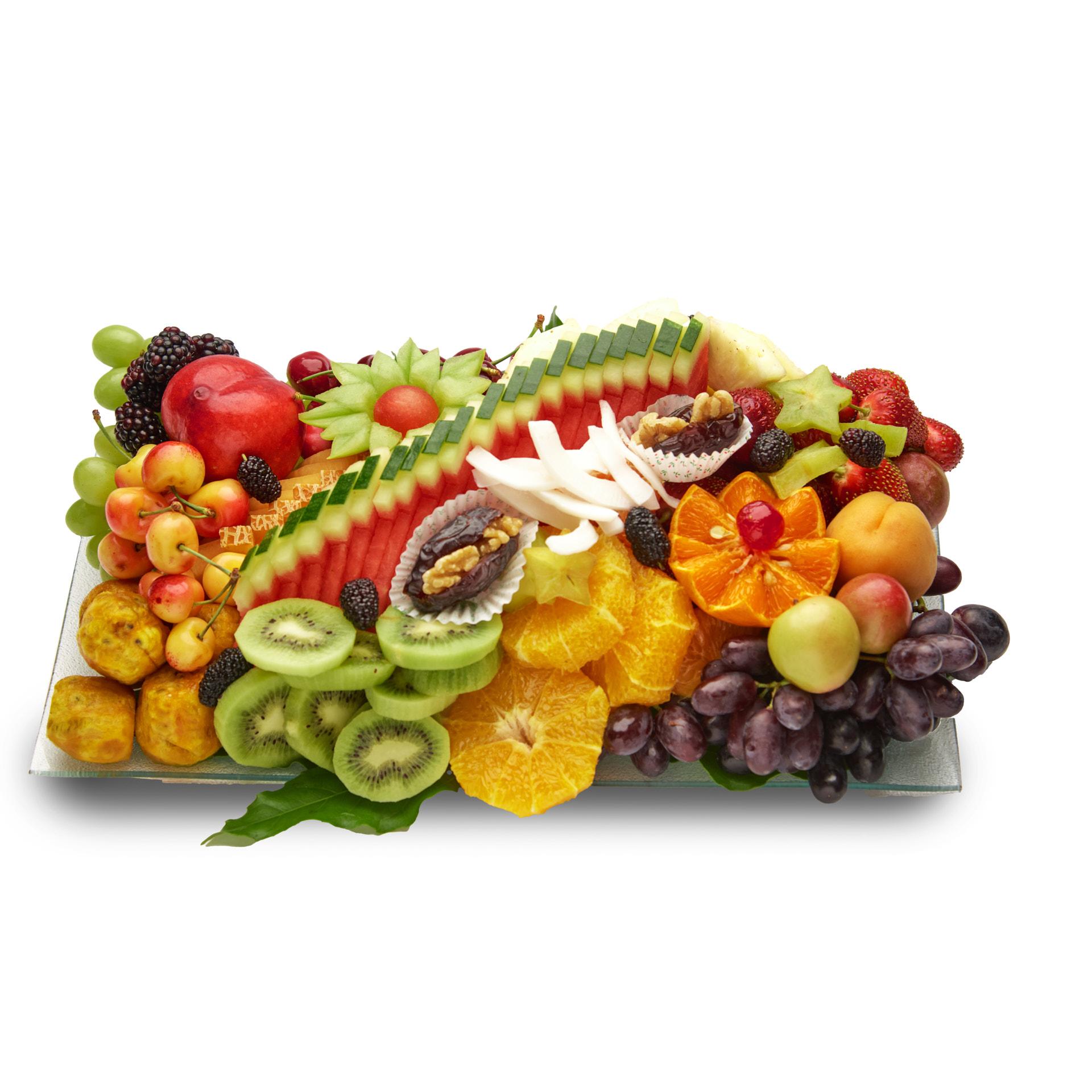 מגש פירות זכוכית טרופי